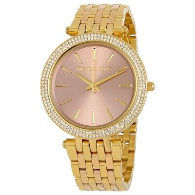 MICHAEL KORS Ladies Watch MK3507 Darci Pink Dial Goldtone Bracelet Retail $250