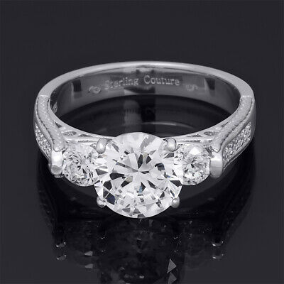 Womens 3-Stone Round Cut 3.30 ct Bridal Engagement Ring Sterling Silver Size 5-9