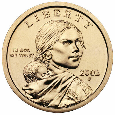 2002 P & D $1 Sacagawea Native American Gold Dollar  2 Coin Set From Mint Rolls Sacagawea Golden Dollar 2 Coin