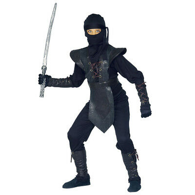 NINJA KOSTÜM KINDER Karneval Fasching Jungen Meister Krieger Kämpfer 6tlg.  (Ninja Meister Kind Kostüm)