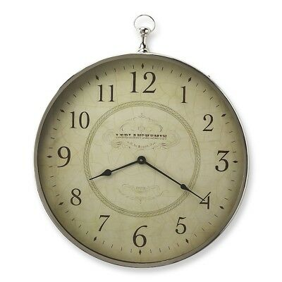Butler Le Blanc Nickel Finish Wall Clock, Silver - 6221365