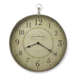 Butler Le Blanc Nickel Finish Wall Clock, Silver - 6221365