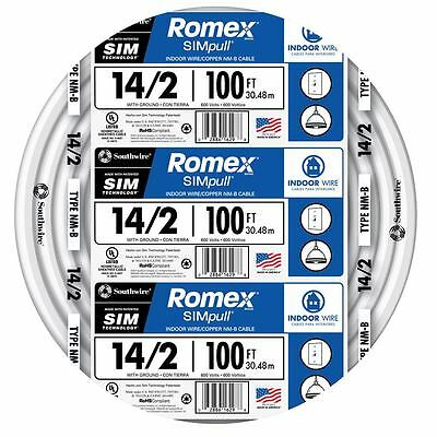 100-ft Roll 14-2 Awg Nm-b Gauge Indoor Electrical Copper Wire Ground Romex Cable