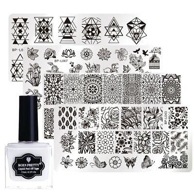 5pcs/set Nail Stamping Plates Kit w/ Peel Off Liquid Tape Latex Cuticle - Wholesale Liquid Latex
