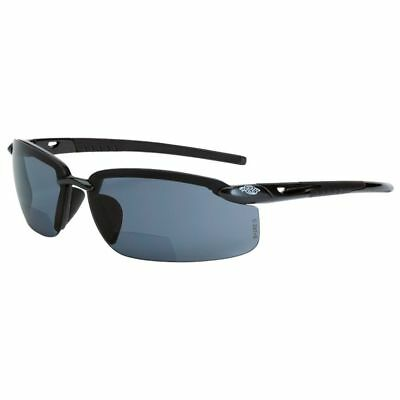 Crossfire Es5 Bifocal Safety Glasses Crystal Black Frm Polarized Smoke Lens