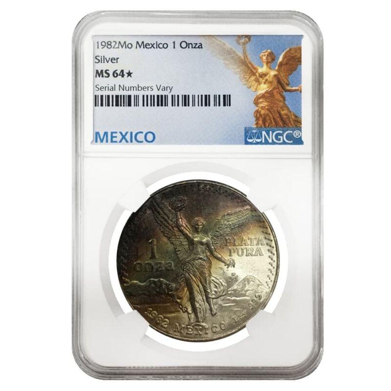 1982 1 oz Silver Mexican Libertad NGC MS 64*