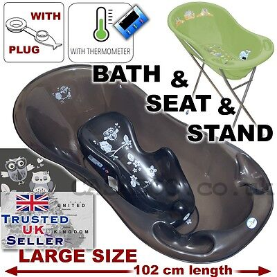 Baby Bathtub Stand - SET LARGE Lux 102cm length Baby Bath Tub with STAND + seat &THERMOMETHER & drain