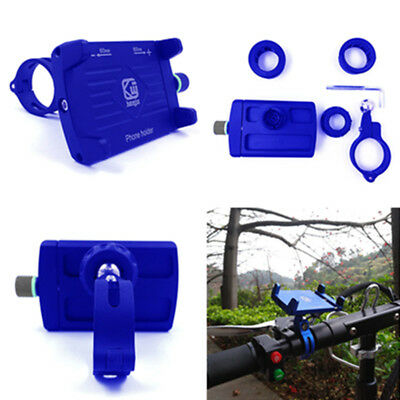 Blue CNC Motorbike MTB Smartphone Mount Holder Bracket Accessories Universal