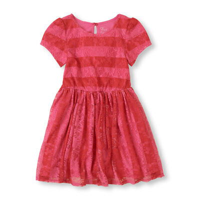 NWT The Childrens Place Girl Pink Short Sleeve Lace Skater Dress 5-6