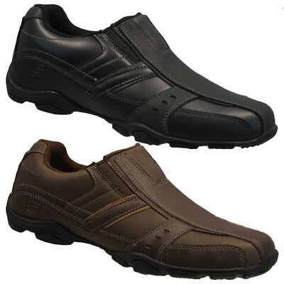 MENS SKECHERS LEATHER COMFORT FIT MEMORY FOAM WALKING ANKLE TRAINERS SHOES SIZE