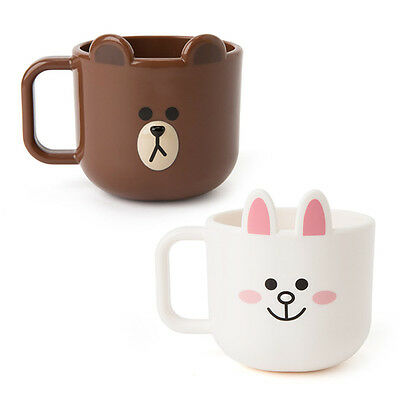 [LINE FRIENDS] BROWN & CONY Face Mugs Set (2ea) 260ml  ABS Cup Free Tracking