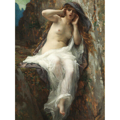 Cabanel Echo Greek Myth Nude Woman Rock Painting Canvas Art Print Poster segunda mano  Embacar hacia Spain