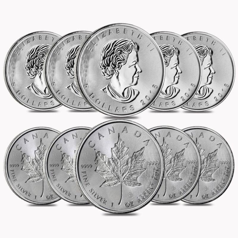 Lot of 10 - 2018 1 oz Silver Canadian Incuse Maple Leaf .9999 Fine $5 Coin BU