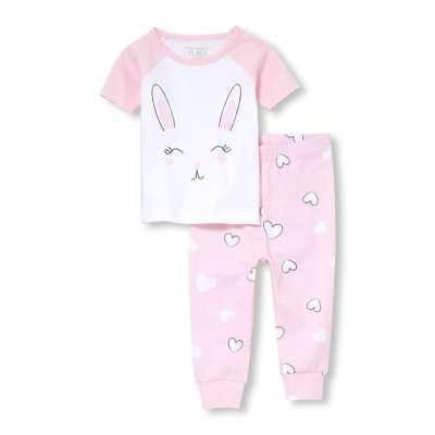 NWT The Children's Place Easter Bunny Rabbit Girls Short Sleeve Pink Pajamas Set