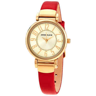 Anne Klein Gold Dial Red Leather Ladies Watch AK/2156CHRD