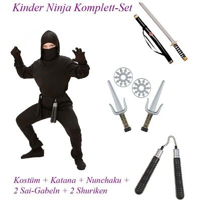 NINJA KOSTÜM KOMPLETTSET KINDER Karneval Schwert Wurfstern Dolch Waffe Junge - Schwarze Jungs Kostüm