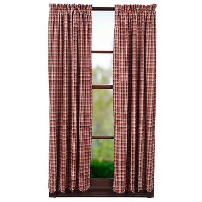 """Used, Braddock Short Panel Set Rustic Burgundy Red/Tan Primitive Curtains 63"""" Plaid for sale  Downingtown"""