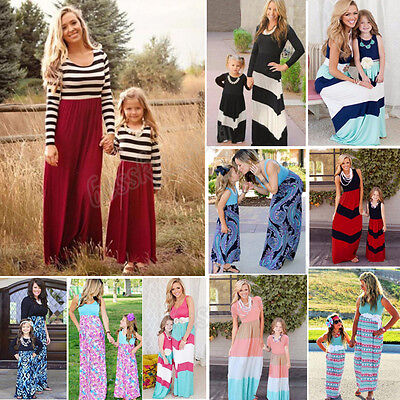 New Mother Daughter Matching Clothes Striped Mom Kids Parent Long Dress Outfits