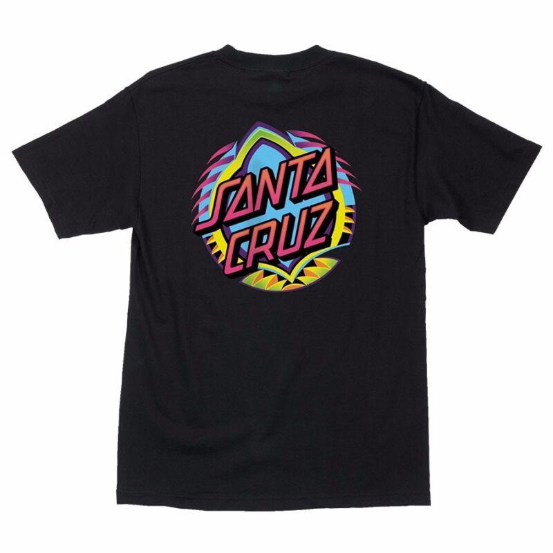Santa Cruz NEON DOT Skateboard T Shirt BLACK LARGE
