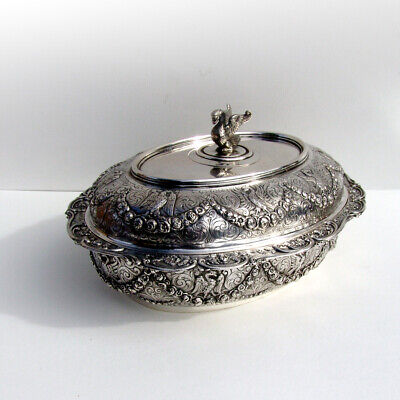 German Empire Style Covered Entree Dish Swan Finial Hanau 800 Silver