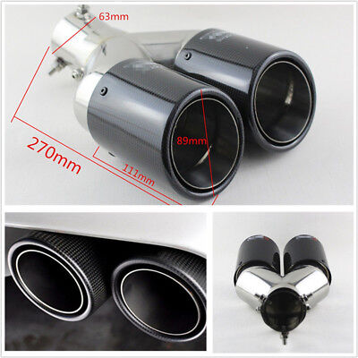Glossy Carbon Fiber Bent Straight Angle Adjustable Car Vehicle Dual Exhaust Pipe