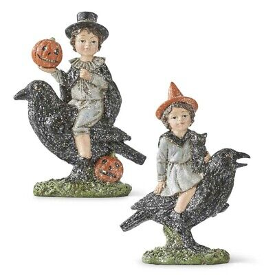 Glitter Boy/Girl riding crow K & K Interiors Holiday/Fall/Halloween Vintage Look - Halloween Feeling
