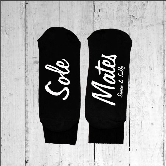 Womens Personalised Sole Mates Socks - Text Printed on the Sole One size 3-8