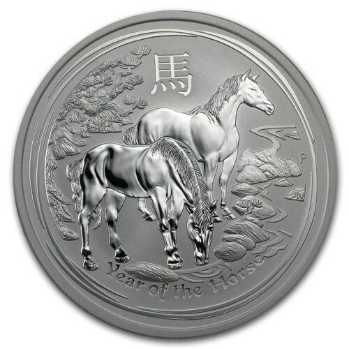 2014 5 oz .999 Silver Australian Perth Mint Lunar Year of the Horse Coin. BU