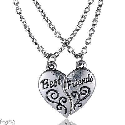 NEW BEST FRIEND Heart Silver Tone  2 Pendants Necklace BFF Friendship