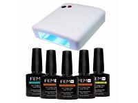 Professional 36 Watt UV Nail Dryer + 5 Free Bottles of UV Gel - Random Colors