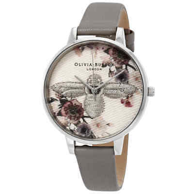 Olivia Burton Embroidered Dial 3D Bee Grey Dial Ladies Watch OB16EM05