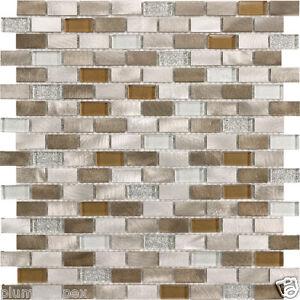 aluminum gray copper tan polished glass mosaic backsplash tile 1 sheet