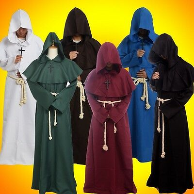 Mittelalterliches Gewand mit Kapuze Mönch Gugel Renaissance Priester - Renaissance Mönch Kostüm