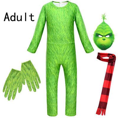 Erwachsene The Grinch Cosplay Overall Maske Kostüm Grün - Grinch Kostüme Maske