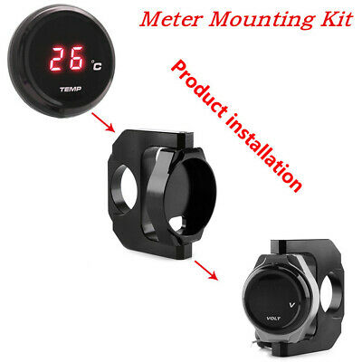 BLACK CNC MOTORCYCLE BIKES ROUND THERMOMETER TEMP GAUGE MOUNTING HOLDE