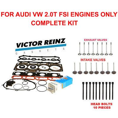 Cylinder Head Gasket Set W BOLTS & Intake,Exhaust Valves AUDI A4 2.0T FSI (2.0 Head Gasket Set)