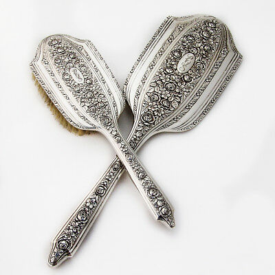 Vanity Set Mirror and Brush Normandie by Wallace Sterling Silver 1933
