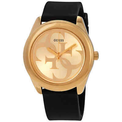 Guess G-Twist Gold Dial Black Leather Ladies Watch W0911L3