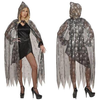 SPINNENNETZ UMHANG MIT KAPUZE Halloween Karneval Spinnen Hexen - Spinnennetz Hexe Kostüme