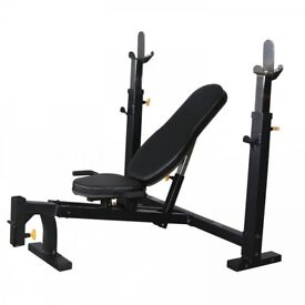 OLYMPIC BENCH POWERTEC WORKBENCH / WITH 85KG WEIGHTS AND BARS