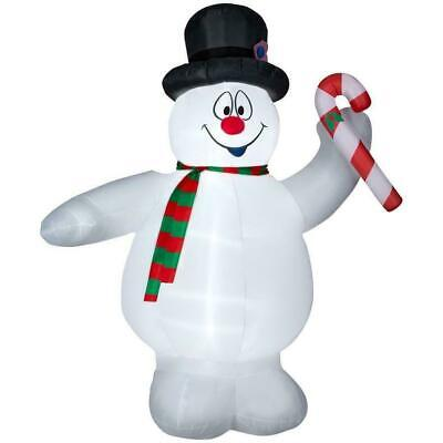 CHRISTMAS 9' TALL AIRBLOWN INFLATABLE FROSTY THE SNOWMAN HOLDING A CANDY CANE