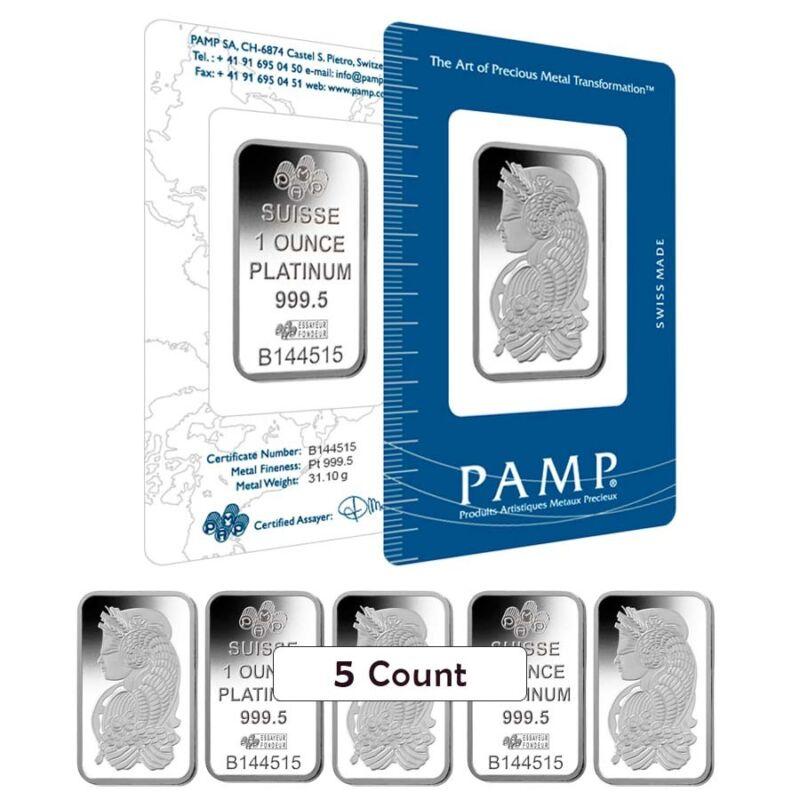 Lot of 5 - 1 oz PAMP Suisse Lady Fortuna Platinum Bar .9995 Fine (In Assay)