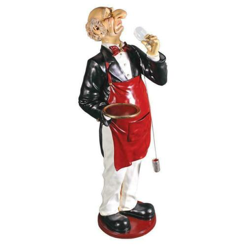 Life Size Snobby Butler Wine Expert Waiter Restaurant Kitchen Statue
