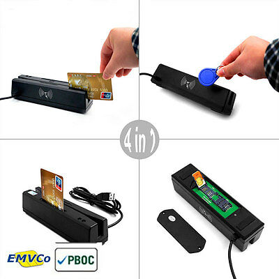 Mcr160 Usb 4-in- 1 Credit Card Reader Emvic Chip Magnetic Rfid Psam Card