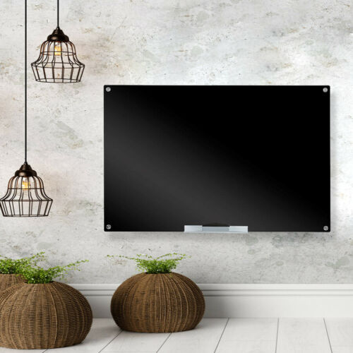 Glass Dry-Erase Board Set Blackboard Magnetic Black