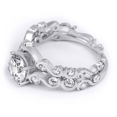 Womens Classic Round Cut 2.8 CT Bridal Engagement Ring Set Real Silver Size 5-9 Round Bridal Set