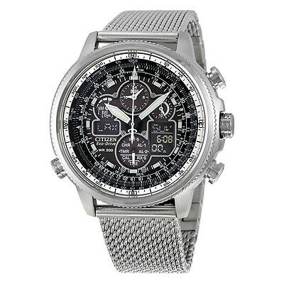 Kyпить Citizen Navihawk UTC Chrono Black Dial Stainless Steel Mesh Mens Watch на еВаy.соm