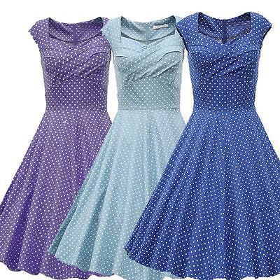 Women's Polka Dot 1950s Vintage Retro Rockabilly Capshoulder Swing Party Dress