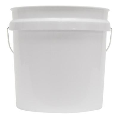 Bucket 2 Gallon Plastic White Tapered Design Food Grade Metal Handle - Plastic Bucket