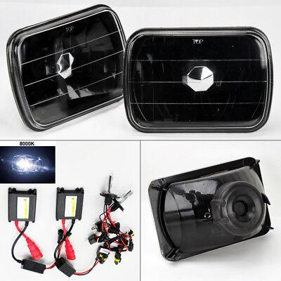 """7X6"""" 8K HID Xenon H4 Black Glass Headlight Conversion Pair RH LH Jeep"""